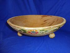 Vtg Wood Dough Bowl Footed Painted Flower Folk Art Primitive Wooden Display
