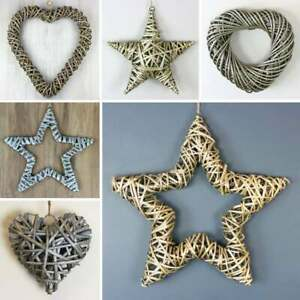 Wicker Star Heart Hanging Wall Decoration Rustic Wreath Shabby Chic Home Gift
