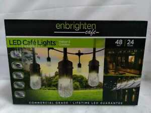 24-Bulb 48 ft. Cafe Integrated LED String Lights, Black by Enbrighten
