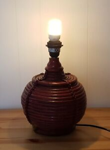 Vintage Rattan Wooden Table Lamp Base Tarogo Light Fitting Red Wicker Rope