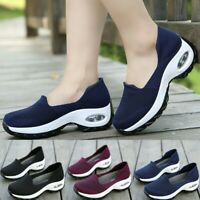 Womens Air Cushion Sneakers Outdoor Breathable Mesh Walking Slip On Casual Shoes