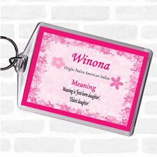 Winona nom signifiant Sac Tag Keychain Porte-clés rose