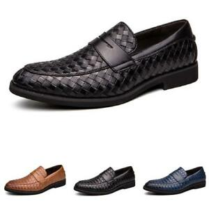 Mens Dress Formal Leather Shoes Slip on Pointy Toe Low Top Nightclub Party D