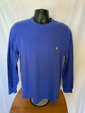 Ralph Lauren Polo Thermal Waffle Long Sleeve Shirt Blue With Yellow Pony XL