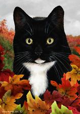 New listing Fall House Flag - Black and White Tuxedo Cat 13950