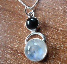 Black Onyx and Rainbow Moonstone Pendant 925 Sterling Silver Round a200h