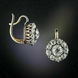VINTAGE ART DECO 2CT ROUND DIAMOND DROP/DANGLE EARRINGS 14K YELLOW GOLD FINISH
