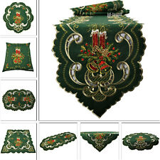 Weihnachten Tischdecke Tischläufer Tischband Mitteldecke GRÜN Leinen Stickerei