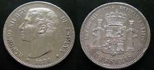 ALFONSO XII , 5 PESETAS DE 1876 ESTRELLA 76 .  PLATA