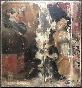 Tableau Ancien à Restaurer Peinture Religieuse Vierge Christ Prière Ép. XVIIIème