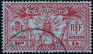 New Hebrides (French) 1925  1fr.(10d) Carmine/Blue  SG.F50 Used      Faults
