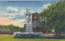 FARGO ND – Rollon Statue and Great Northern Railroad Station