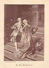 Flower Vender, Street Market, Fashions, Vintage 1892 German Antique Art Print