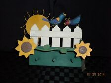 Midwest of Cannon Falls Wooden Shelf With Picket Fence, Birds, Sun & Sunflowers