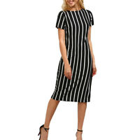 Fashion Women Ladies Short Sleeve Striped Knee Length Dress Loose Party Dress