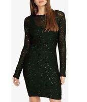 RRP £110 Phase Eight Green Juana Sequin Overlay Party Evening Pencil Dress 6-18