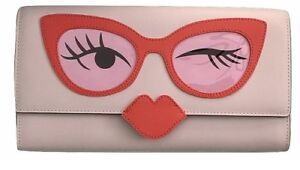 KATE SPADE Rose Colored Glasses Clutch Purse Pink & Red WKRU4277