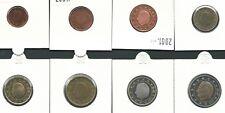 België 2001 serie van 1 cent t/m €2 uit proofset, 6 niet in circulatie gebracht