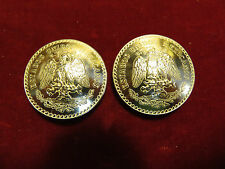 Conchos: Mexican UnPeso Pair Real Coin 72% Silver, 1930's-40's, Post and Screw