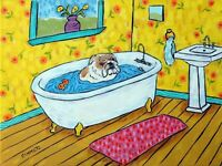 Bulldog bath bathroom dog 11x14  animals impressionism artist gift new