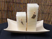 Large Handcrafted Cream Sculpted Candles 'LANDON TYLER' & Ceramic Display Plate