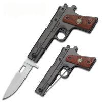 1911 BLACK .45 Cal Caliber Police Pistol Gun Style Pocket Knife Assisted