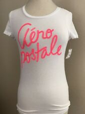 Aéropostale Womans Shirt Sz M White Hot Pink Sequin Applique 100% Cotton