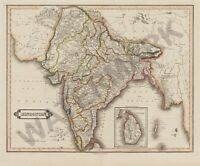 Hindostan India Map Giant Wall Canvas Art Print