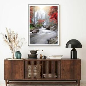 Stunning Waterfall Scenery View Print Premium Poster High Quality choose sizes
