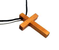 Wood Cross  Brown Pendant Black Cord Religious Goth Handmade              #J53-1