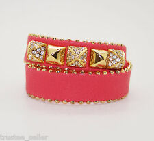 JUICY COUTURE Paved Gold Studs Pink Double Wrap Leather Bangle Bracelet  Cuff