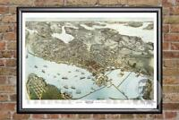 Vintage Seattle, WA Map 1891 - Historic Washington Art - Victorian Industrial