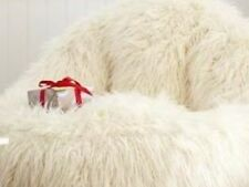 SHAGGY FUR SOLID LEANBACK BEAN BAG CHAIR IVORY LOUNGE BEDROOM