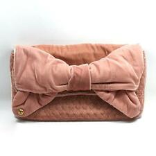 Juicy Couture Pink Bow Velvet Large Clutch #YHRU2163 $198