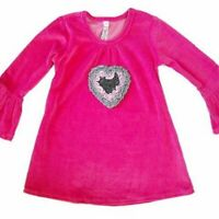 Love U Lots Girls Top Pink Size 2T Pink Long Sleeve Velour Gray Ruffle Heart NEW