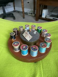 Vintage Wood Thread holder Sewing Stand With Pin Cushion