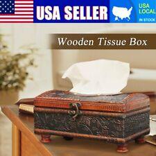 European Vintage Wooden Tissue Box Cover Napkin Holder Home Car Hotel Decor