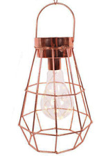 Copper Geometric Battery Operated LED Hanging / Freestanding Lamp / Light - BNWT