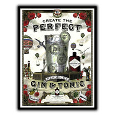 HENDRICK'S GIN & TONIC METAL WALL PLAQUE Sign kitchen bar cafe decor wall sign