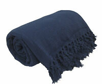 Navy Blue 100% Cotton Sofa / Bed Throw Single Double King Size Throws