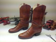 VINTAGE USA MADE WESTERN COWBOY LARRY MAHAN COGNAC BROWN ENGINEER BOSS BOOTS 11
