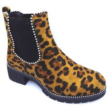 womens faux suede leopard print low heel ankle Chelsea boot with stud detail