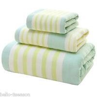 100% Cotton Quick-Dry Thick Bath Towels Striped Soft  Face Towel Hand Towels Set