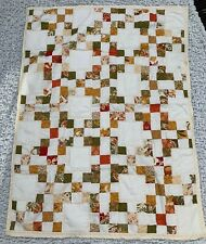 A HANDMADE PATCHWORK  QUILTED SMALL LAP QUILT, THROW, BEDSPREAD