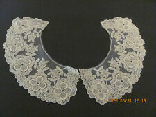 Vintage Ivory Embroidered Fine Net Lace Collar Pieces Craft Projects A32