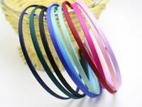 10PCS Satin Mixed Color Band Metal Craft Hair Headband Covered 5mm