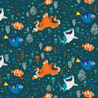 Disney Finding Dory Characters & Coral Camelot 100% cotton fabric by the yard