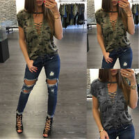 Sexy Women V-Neck Lace Up Camo T-Shirt short Sleeve Casual Loose Blouse Shirt