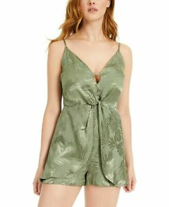 Guess Womens Romper Army Sage Green US 0 Shiny Leaf Print Twist Front $98 #143