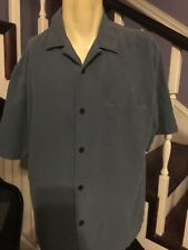 Nat Nast Luxury Silk Button Down Shirt Blue size L Large Short Sleeve